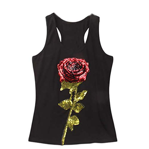 GHrcvdhw Women's Camisole Tank Tops Print Vest Casual Sequin Rose Sleeveless Tank Sport Pullover Tunic