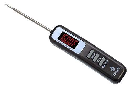 Taylor Precision Products 812GW Grill LED Digital Thermometer with Folding Probe, Gray