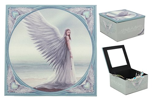 Ebros Angelic Journey Spirit Guide Angel By The Horizon Mirrored Jewelry Box Small Keepsake Trinket Box