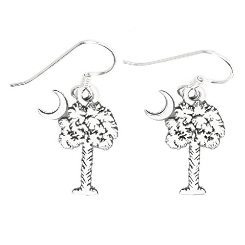 Sterling Silver Oxidized Palmetto Tree Crescent Moon South Carolina Symbol Earrings