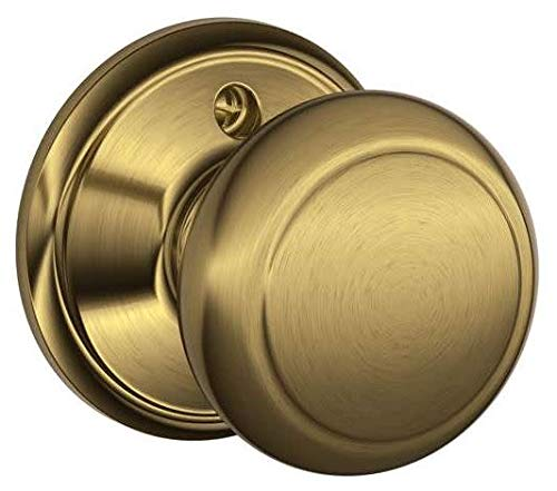 - Schlage F170-AND Andover Single Dummy Door Knob from The F-Series, Antique Brass