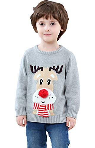 Shineflow Children Kids Rudolph Reindeer 3d Red Nose Ugly Christmas Sweater Jumper (3Y)