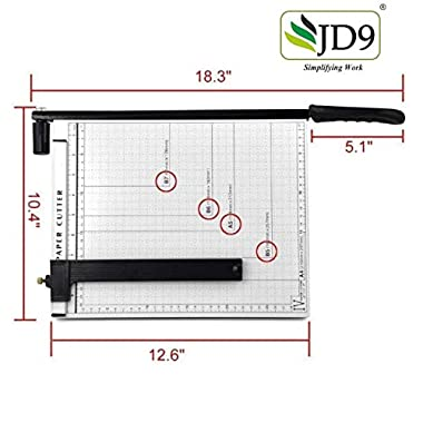 JD9 Paper Cutter A4 Heavy Duty Professional Paper Trimmer, Guillotine Craft Machine for Office, Home, Craft, Photo Studio (A4, B5, A5, B6, B7) (White, 12.5 x 9.8 x 1.2 inch) 11