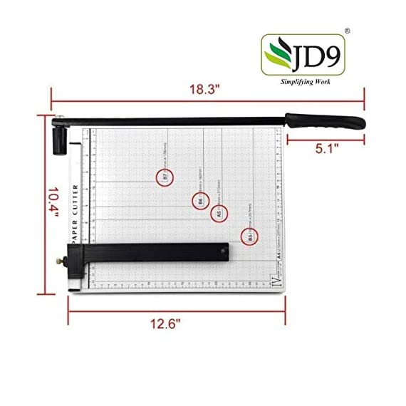 JD9 Paper Cutter A4 Heavy Duty Professional Paper Trimmer, Guillotine Craft Machine for Office, Home, Craft, Photo Studio (A4, B5, A5, B6, B7) (White, 12.5 x 9.8 x 1.2 inch) 4