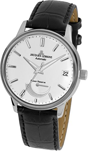 Jacques Lemans Men's Retro Classic 44mm Black Leather Band Steel Case Automatic White Dial Watch N-222A