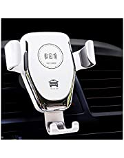 Q12Car Charger Mount【Auto Clamping】Qi Fast Charging 10W iPhone Car Charger Holder for Air Vent & Dash, Compatible iPhone 12 Series/11/SE/XS/XR/8P,Samsung Galaxy S20/S10/S9/Note 20/10 (white)