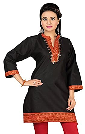 78dc174a249 India Tunic Top Kurti Womens Embroidered Cotton Blouse Indian Apparel (Black,  M)