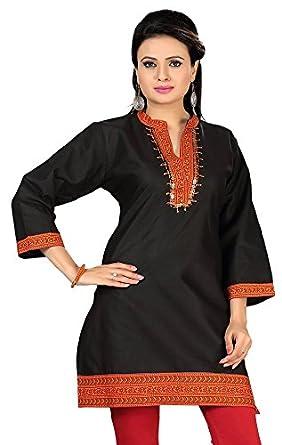 7221947079 Indian Tunic Top Long Kurti Womens Black Cotton Blouse India Clothing at  Amazon Women's Clothing store: