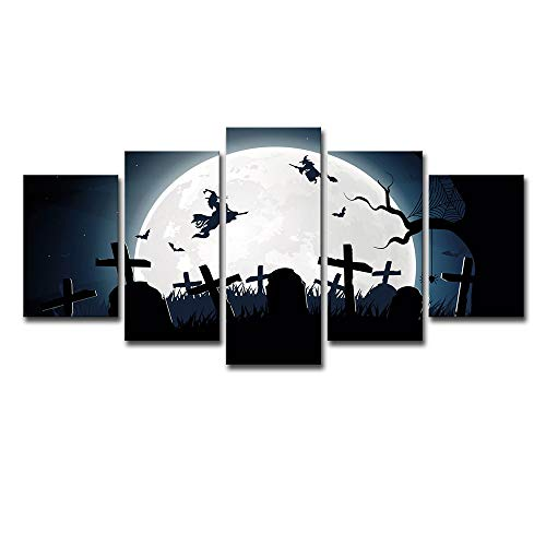 Home Decor Art Wall Decoration 5 Wall Art Cartoon Halloween Witch Landscape Canvas Print Modern Mural Decoration Suitable for Living Room Bedroom,A,S ()