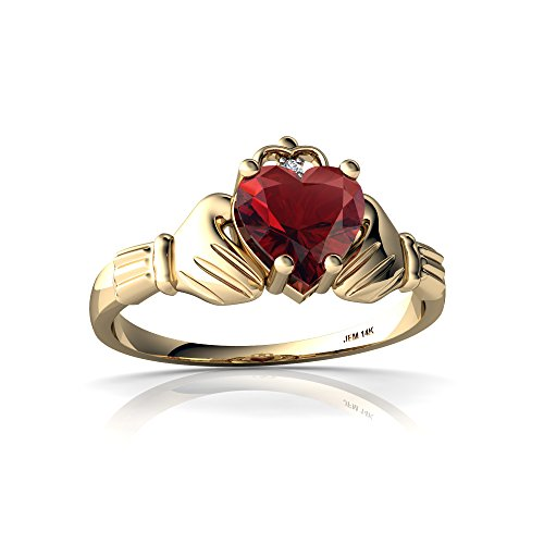 14kt Yellow Gold Garnet and Diamond 6mm Heart Claddagh Ring - Size ()