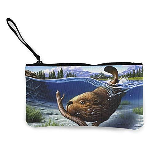 YUANSHAN Busy Beaver Unisex Canvas Coin Purse Change Cash Bag Zipper Small Purse Wallets with Handle -