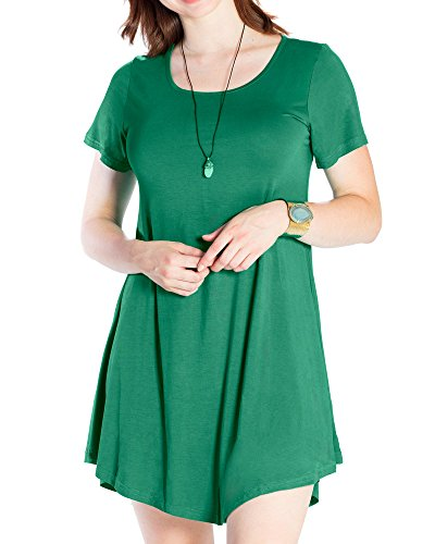 Jollielovin Womens Tunic Casual Short Sleeve Swing Loose T Shirt Dress  Deep Green  L