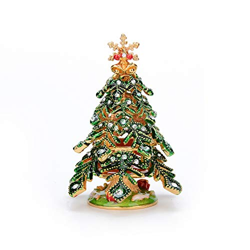 QIFU Hand Painted Enameled Small Christmas Tree Decorative Jewelry Trinket Box with Hinged, Unique Gift for Family