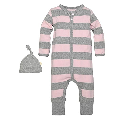 Burt's Bees Baby Organic Cotton Rugby Stripe Coverall & Hat Set: Blossom Pink, 6-9 Months