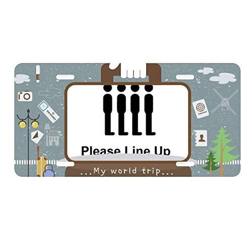 DIYthinker Please Line UP Black Symbol License Plate Car Decoration Tin Sign Travel