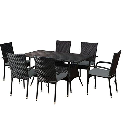garten set fuerteventura in schwarz essgruppe mit 6 st hlen stapelbar polyrattan von jet line. Black Bedroom Furniture Sets. Home Design Ideas