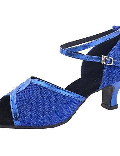 Tanzschuhe Blue Leder Anpassbare Nicht ShangYi Damen Kunstleder Latin 8dq0Wwa