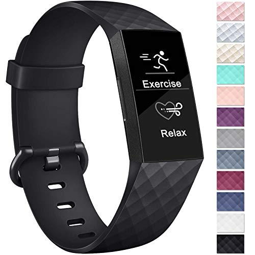Vancle Bands Compatible with Fitbit Charge 3 Bands for Women Men, Sport Accessory Replacement Charge 3 Wristband Small Large for Fitbit Charge 3 SE and Fitbit Charge 3 (Black, Large)