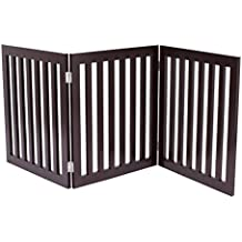 Internet's Best Traditional Pet Gate | 3 Panel | 24 Inch Step Over Fence | Free Standing Folding Z Shape Indoor Doorway Hall Stairs Dog Puppy Gate | Fully Assembled | Espresso | Wooden