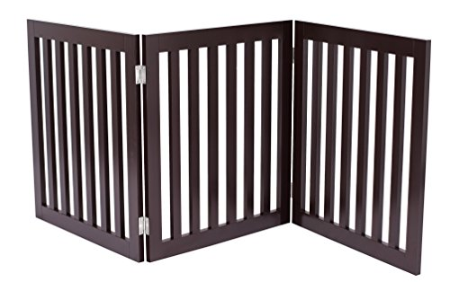Internet's Best Traditional Pet Gate | 3 Panel | 24 Inch Step Over Fence | Free Standing Folding Z Shape Indoor Doorway Hall Stairs Dog Puppy Gate | Fully Assembled | Espresso | Wooden For Sale