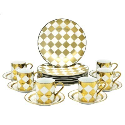 18 Piece China Coffee & Cake Serving Set of 6 Delicate Cups & Saucer with Dessert Plate 18 Kt Gold Checkered Flag ()