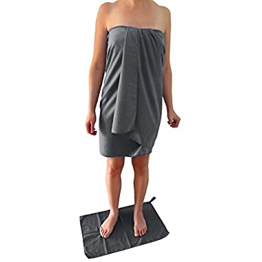 Microfiber Travel Towel XL 30x60  with FREE Hand Towel - Fast Drying, Compact, Soft, Light, Antibacterial. For Backpacking, Camping, Beach, Gym, Swimming. Gift Box and Carry Bag.