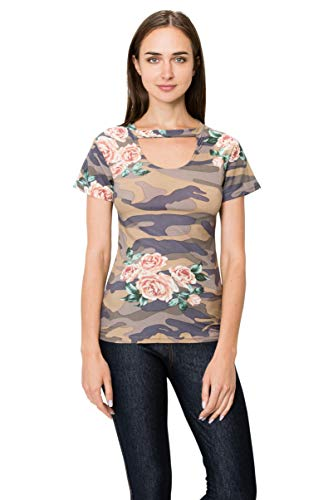 - J. Village Women Camo Floral Top - Premium Soft Stretch Printed Patterned Choker V-Neck Short Sleeves Tee Shirt 1960 S