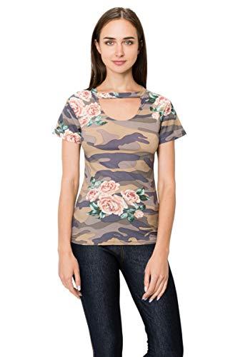 J. Village Women Camo Floral Top - Premium Soft Stretch Printed Patterned Choker V-Neck Short Sleeves Tee Shirt 1960 S