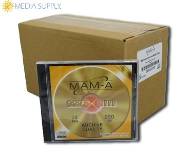 Gold Archive 74 minute CD-R with no logo in jewel case - 25 Pack by MAM-A