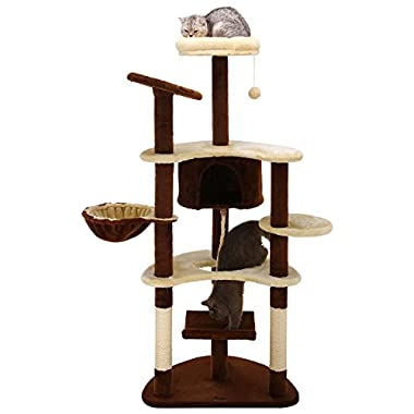 Ollieroo 60  H Cat Climbing Tree Tower Condo Scratcher Furniture Kitten House Hammock with Scratching Post and Toys for Cats Kittens Playhouse Beige & Brown