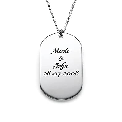31406843cd6f Personalized Dog Tag Necklace - Custom Made with Any Name! (Sterling  Silver, 14