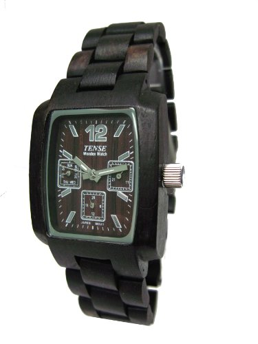 Tense Black Sandalwood Rectangular Hypoallergenic Wood Watch J8302D