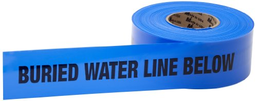 Mutual 17783 Polyethylene Non Detectable Underground Water Line Marking Tape, 4.5 mil Thickness, 1000' Length x 3'' Width, Blue by Mutual Industries