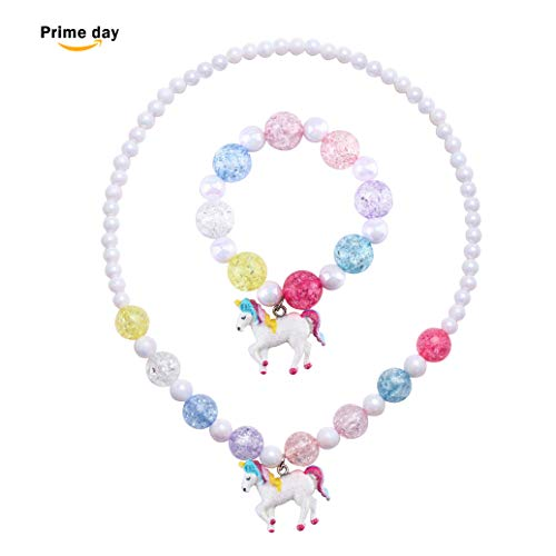 SkyWiseWin Chunky Jewelry Unicorn Necklace and Bracelet Set for Girls Little Kids