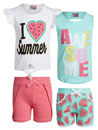 (Real Love Girl\'s 4-Piece French Terry Short Sets (Summer/Awesome, 2T)')