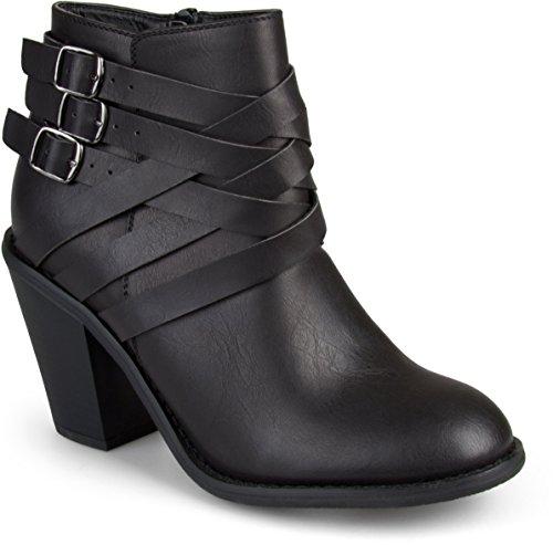 Brinley Co Women's Buckle Ankle Boot, Black, 7 Regular US