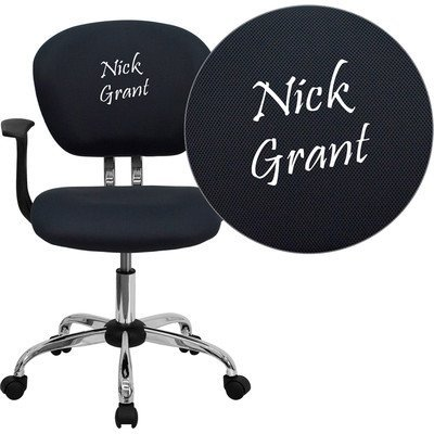 Mid-Back Mesh Embroidered Task Chair Finish: Gray, Arm Option: Included (Mesh Mid Embroidered Back)