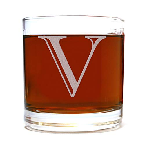Etched Monogram 10.5oz Rocks Old Fashioned Lowball Glass for Whiskey Scotch Bourbon (Letter ()