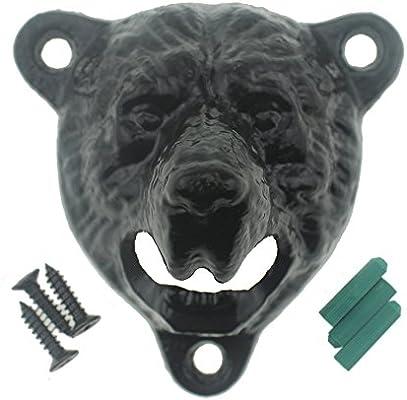 Black Bear Teeth Opener Cast Iron Bear Head Bottle Opener Wall Mounted Bottle Cap Catcher Set DALANG INC