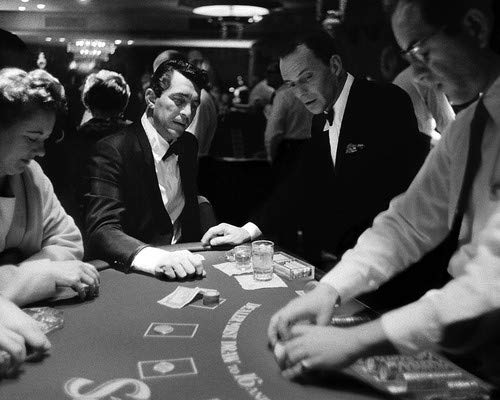 Dean Martin and Frank Sinatra in Ocean's Eleven at Las Vegas casino card table 8x10 Promotional Photograph