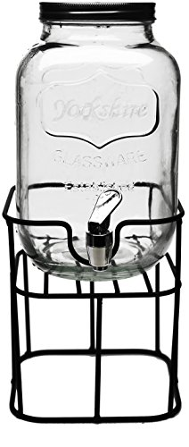 Circleware 69122 Sun Tea Mini Mason Jar Glass Beverage Dispenser with Lid Glassware for Water, Juice, Beer, Wine, Liquor, Kombucha Iced Punch & Cold Drinks, Classic, Yorkshire 1 Gallon with Stand -