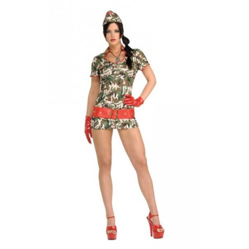 [Secret Wishes Women's Cute Recruit Adult Costume with Holographic Sequins, Multicolor, X-Small] (Cute Army Girl Halloween Costumes)