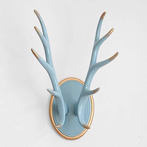 (SUNLMG Vintage Cast Deer Antlers Coat Rack/Key Holder/Jewellery Display Rack/Bathroom Towels Hanger Rustic Cabin Hanger,Blue)