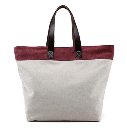 Sucastle Freizeit Taschen Mode-Tasche Retro-Tasche Handtasche Schultertasche Segeltuchtasche Sucastle Farbe:Weiß und lila Größe:38x35x16cm
