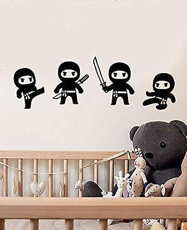 Película de anime vinilo calcomanía de pared dibujos animados little ninja cute boy room sala de niños decoración de jardín de infantes pegatinas divertido juego de acción room car stickers 172x57cm