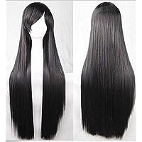 MMWW Peruca feminina longa e reta de 80 cm, peruca sintética resistente ao calor, peruca sintética para cosplay, festa…