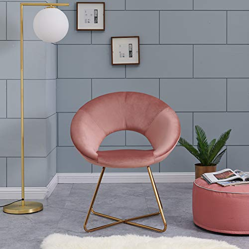 Contemporary Modern Velvet Chairs Single Sofa Comfy Upholstered Arm Accent Chair Living Room Bedroom Furniture Pink