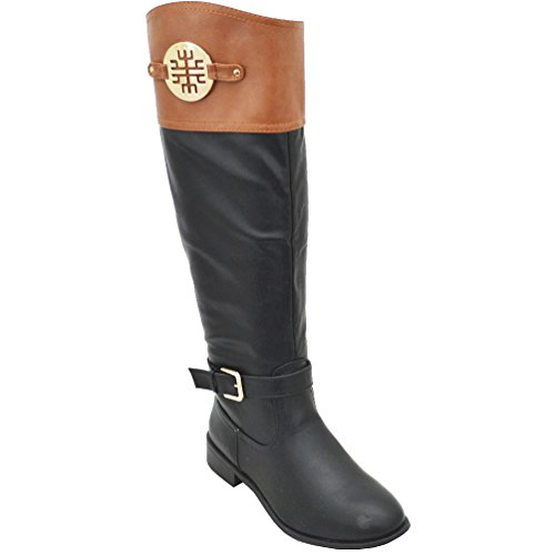 Bamboo Womens Asiana-76 Medallion Two Tone Riding Boots,Ches