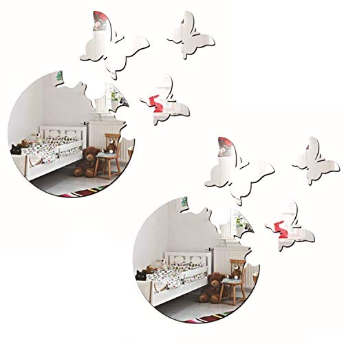 - ZeoJard 2Sets/8Pcs 3D Acrylic Wall Sticker Butterflies Mirror DIY Wall Sticker Removable Decal Acylic Crystal Vinyl Mirror Surface Art Wall Decoration for Bedroom Living Room Home Decor