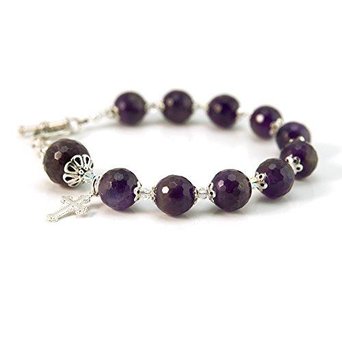 Sterling Swarovski Rosary Bracelets - Amethyst Gemstone Swarovski Sterling Silver 6.5